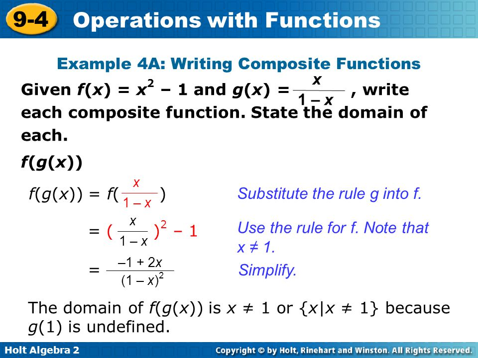 Example 4A: Writing Composite Functions