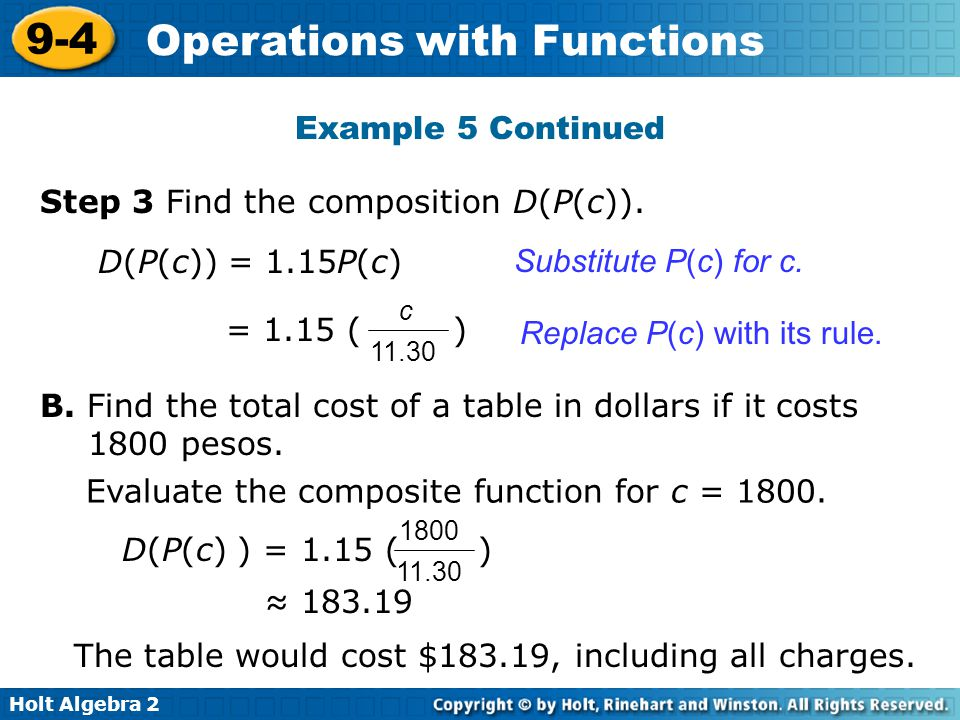 Step 3 Find the composition D(P(c)).
