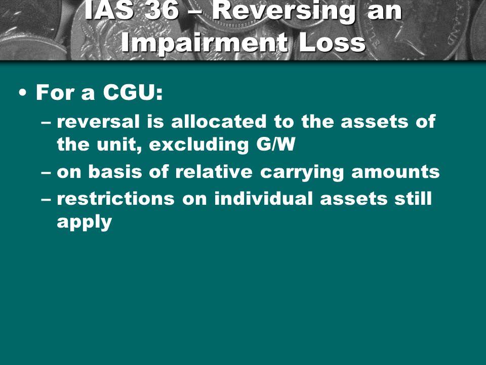 IAS 36 – Reversing an Impairment Loss