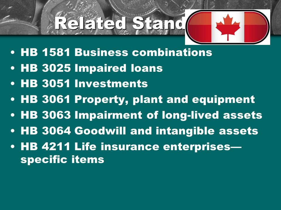 Related Standards HB 1581 Business combinations HB 3025 Impaired loans