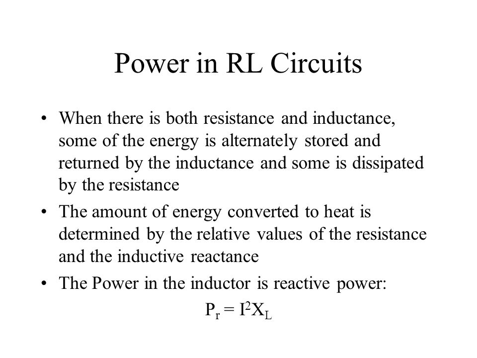Power in RL Circuits