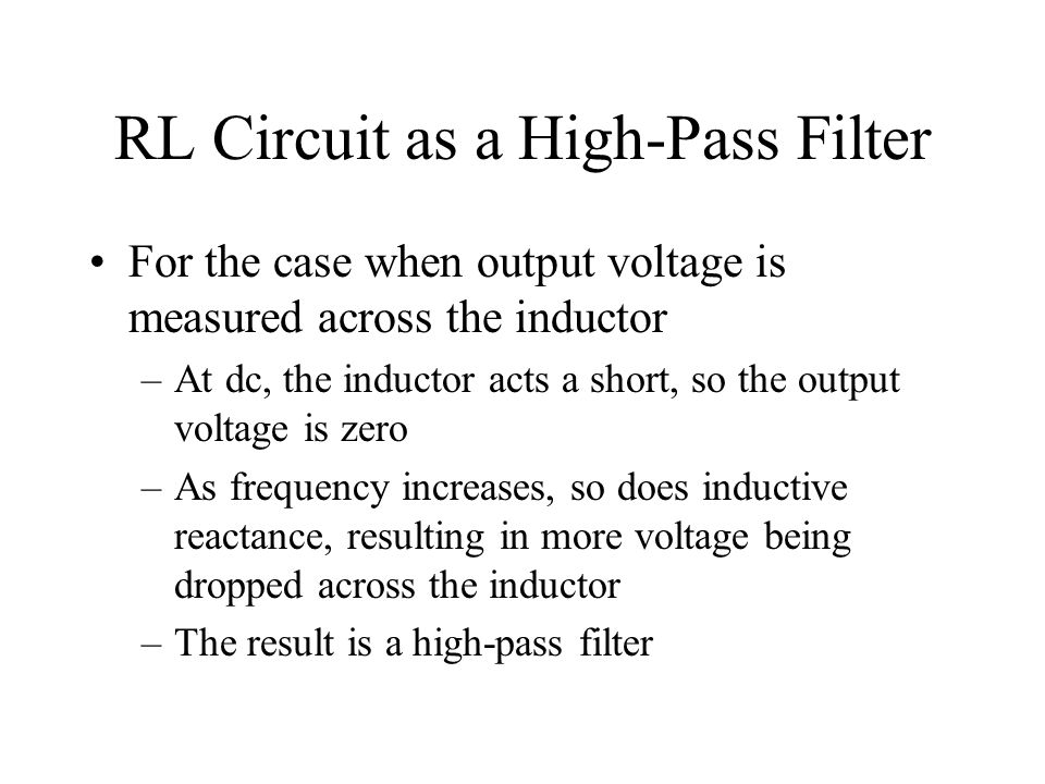 RL Circuit as a High-Pass Filter
