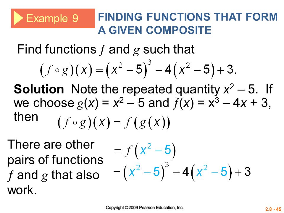 Find functions  and g such that