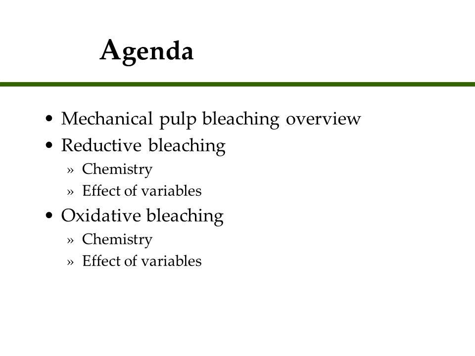 Agenda Mechanical pulp bleaching overview Reductive bleaching