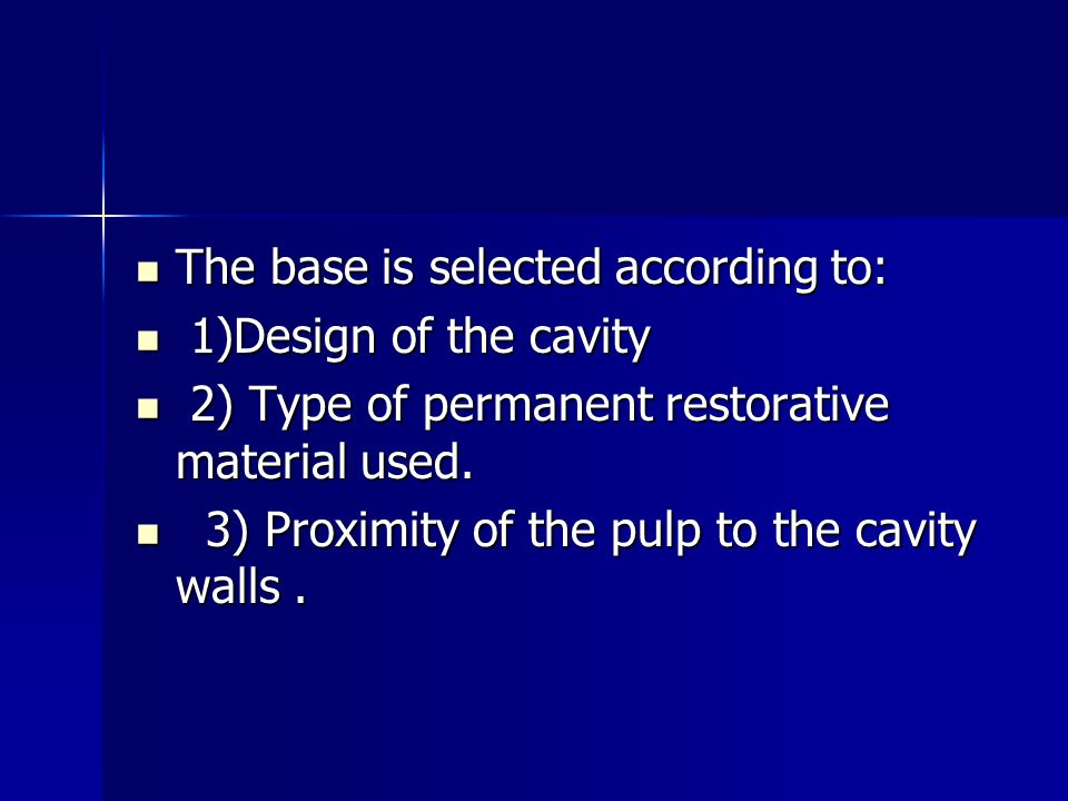 The base is selected according to: