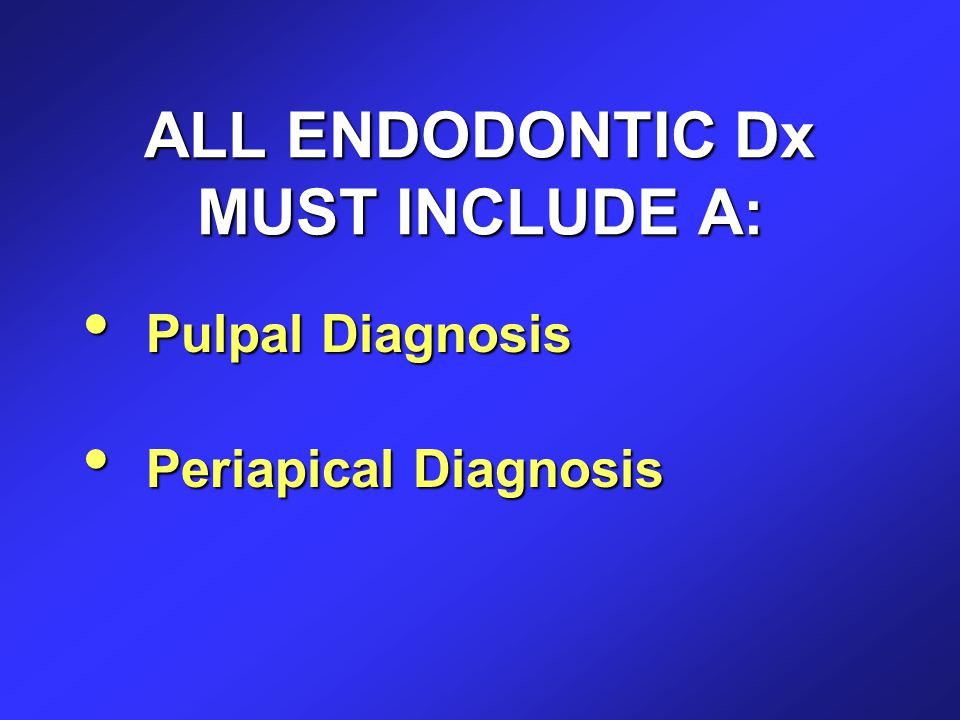 ALL ENDODONTIC Dx MUST INCLUDE A: