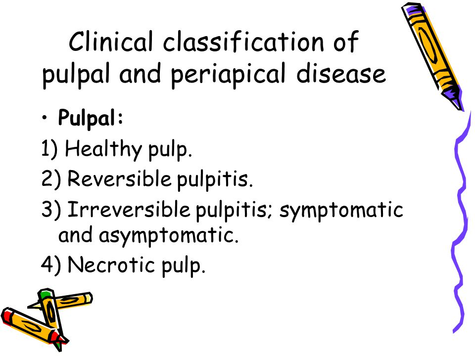Clinical classification of pulpal and periapical disease