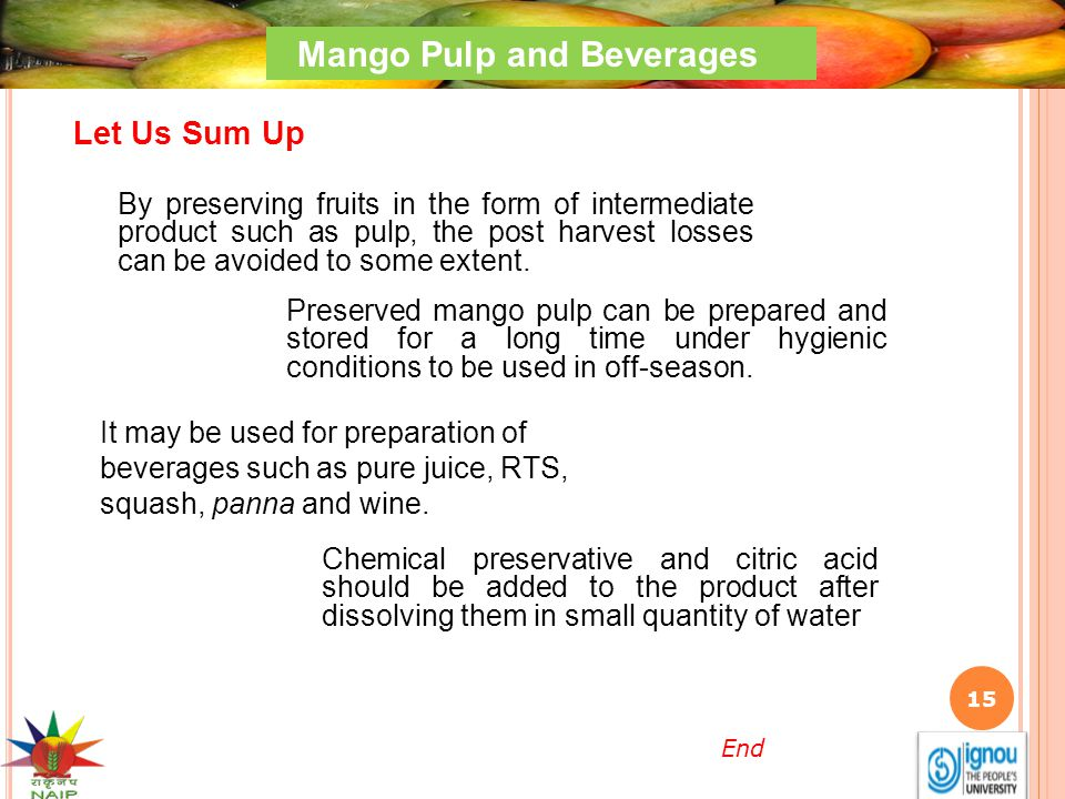 Mango Pulp and Beverages