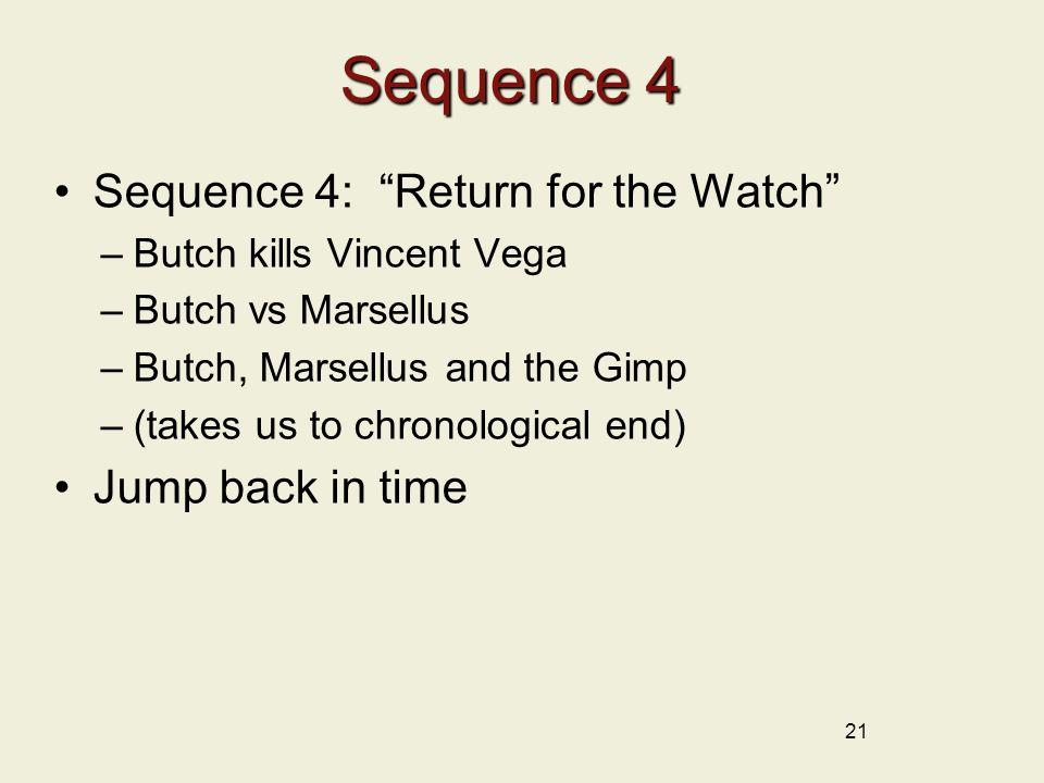 Sequence 4 Sequence 4: Return for the Watch Jump back in time
