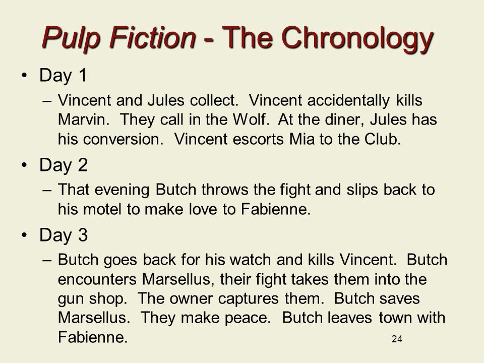 Pulp Fiction - The Chronology