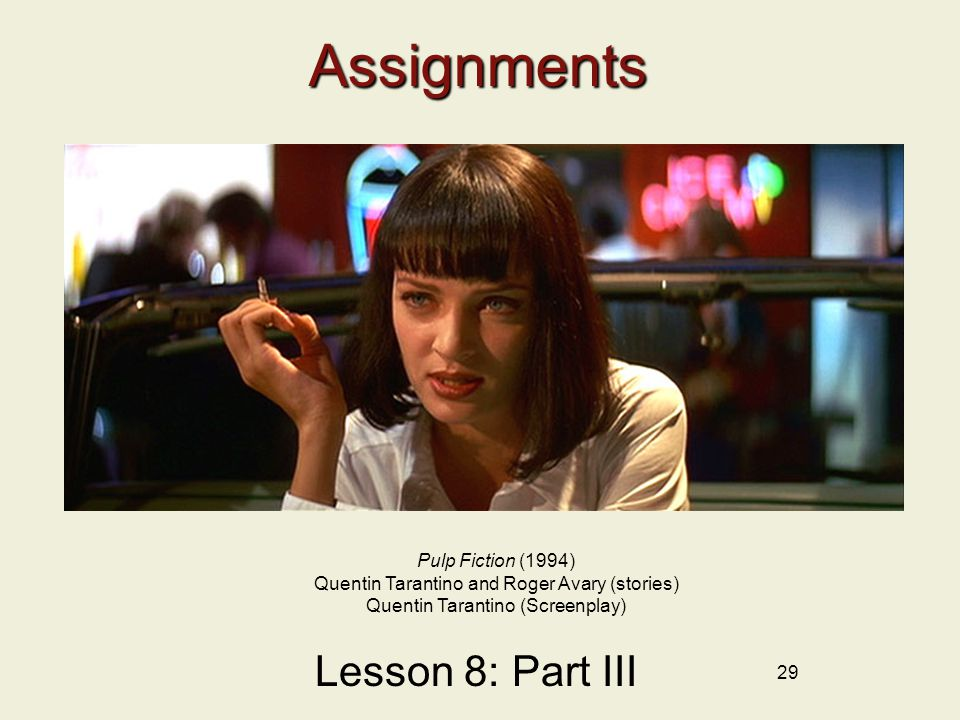 Assignments Lesson 8: Part III Pulp Fiction (1994)