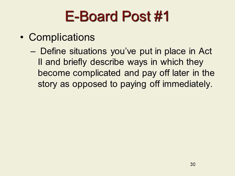 E-Board Post #1 Complications