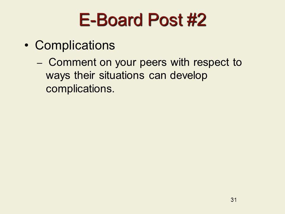 E-Board Post #2 Complications