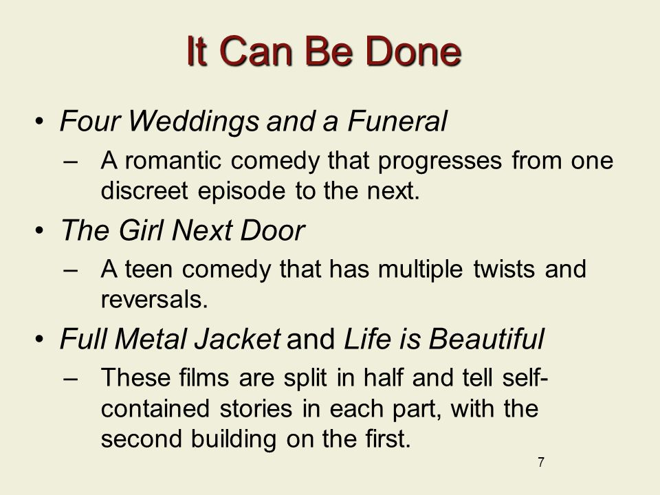 It Can Be Done Four Weddings and a Funeral The Girl Next Door