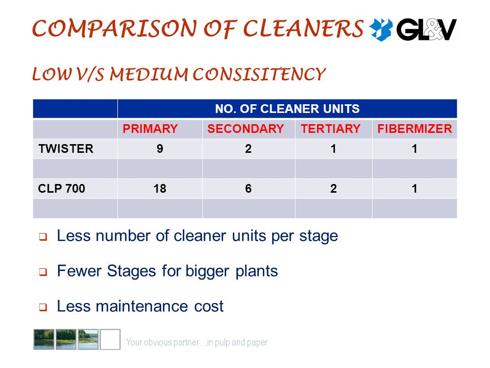 COMPARISON OF CLEANERS LOW V/S MEDIUM CONSISITENCY