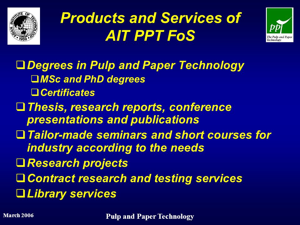 Products and Services of AIT PPT FoS