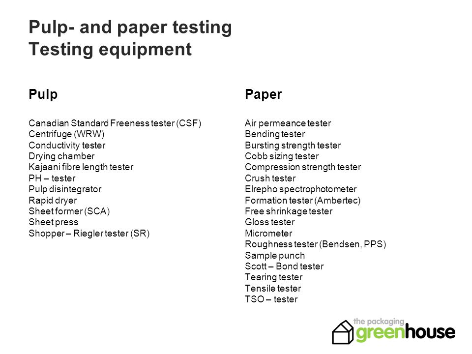Pulp- and paper testing Testing equipment