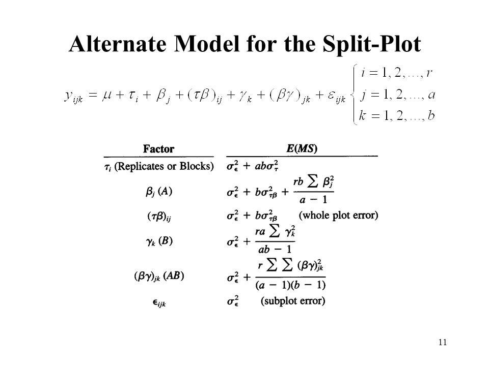 Alternate Model for the Split-Plot