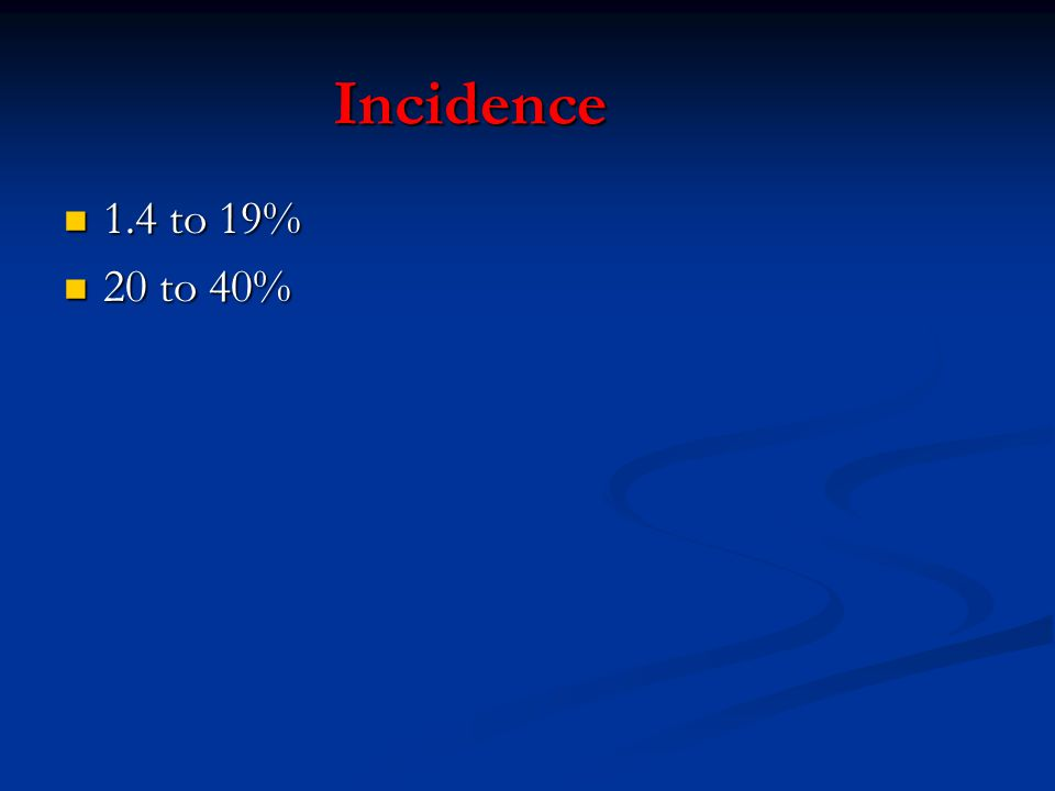 Incidence 1.4 to 19% 20 to 40%
