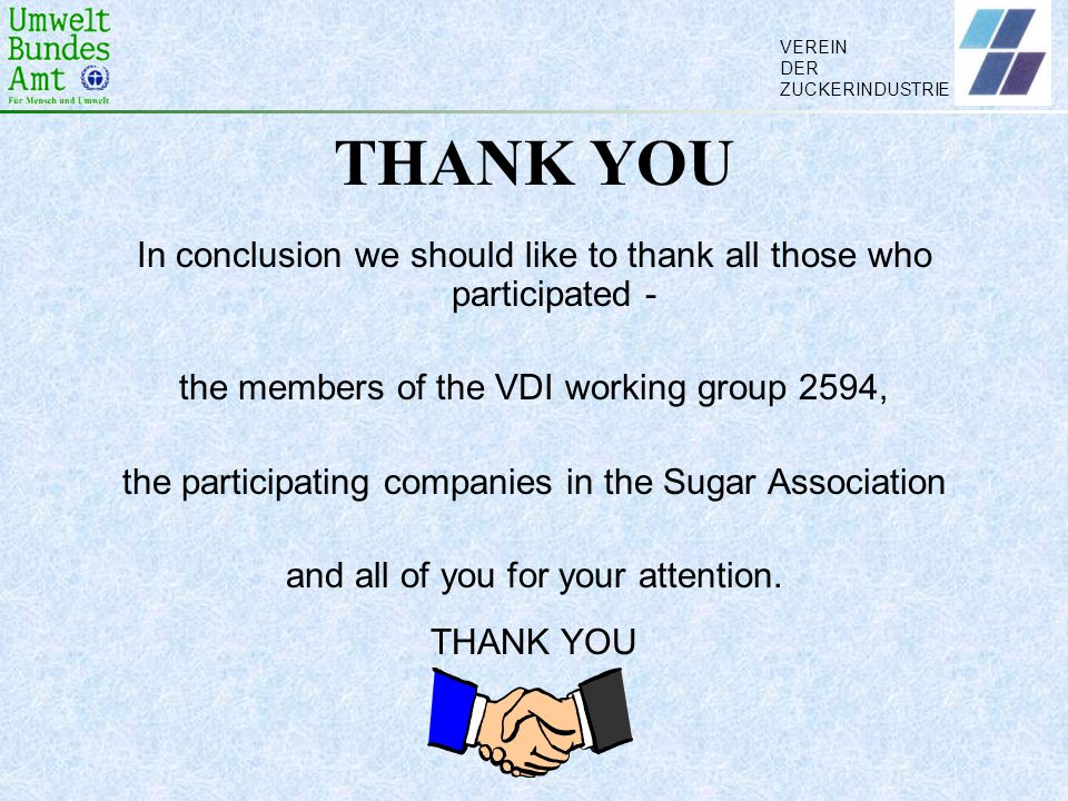 THANK YOU In conclusion we should like to thank all those who participated - the members of the VDI working group 2594,