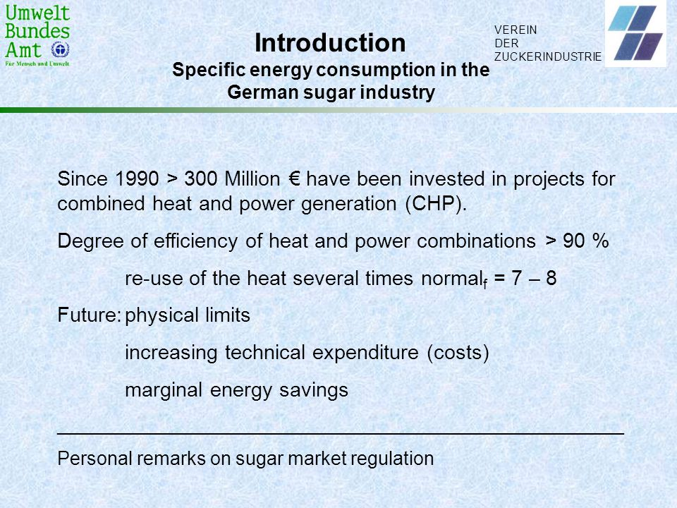Specific energy consumption in the
