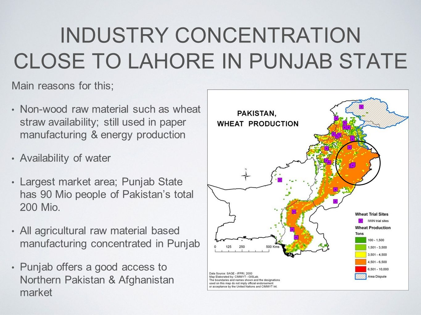 INDUSTRY CONCENTRATION CLOSE TO LAHORE IN PUNJAB STATE