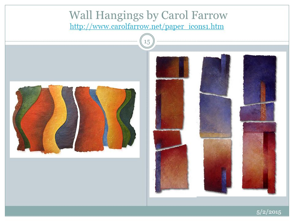 Wall Hangings by Carol Farrow http://www.carolfarrow.net/paper_icons1.htm