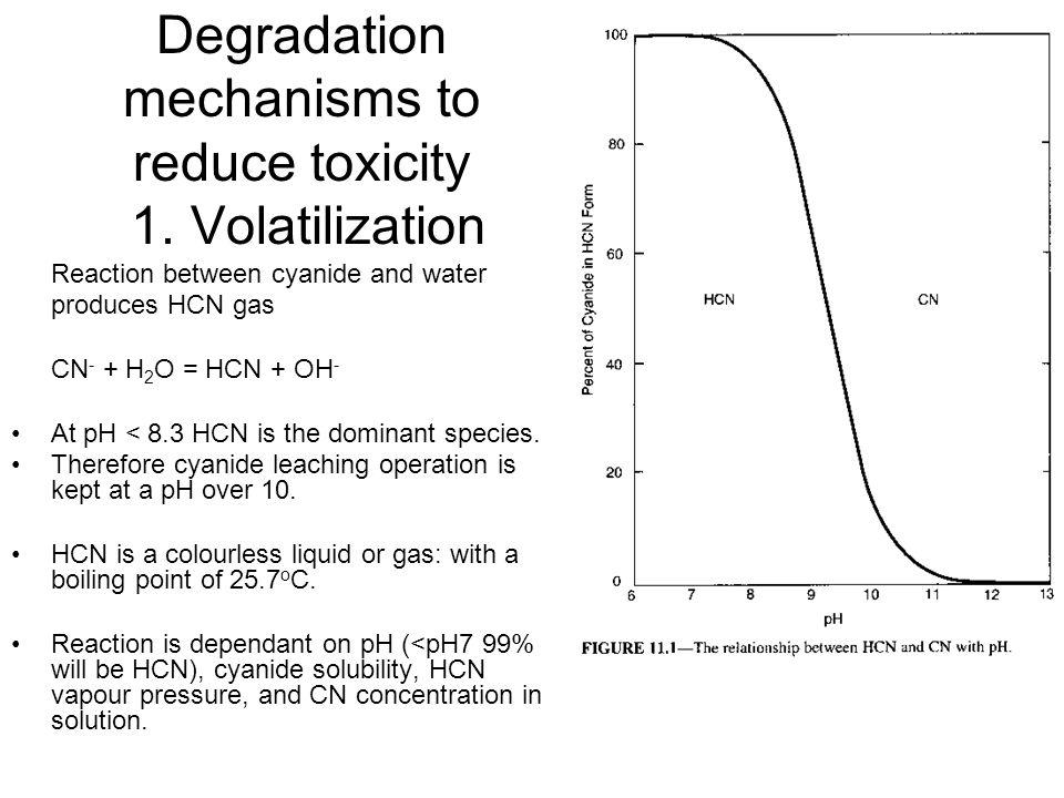 Degradation mechanisms to reduce toxicity 1. Volatilization