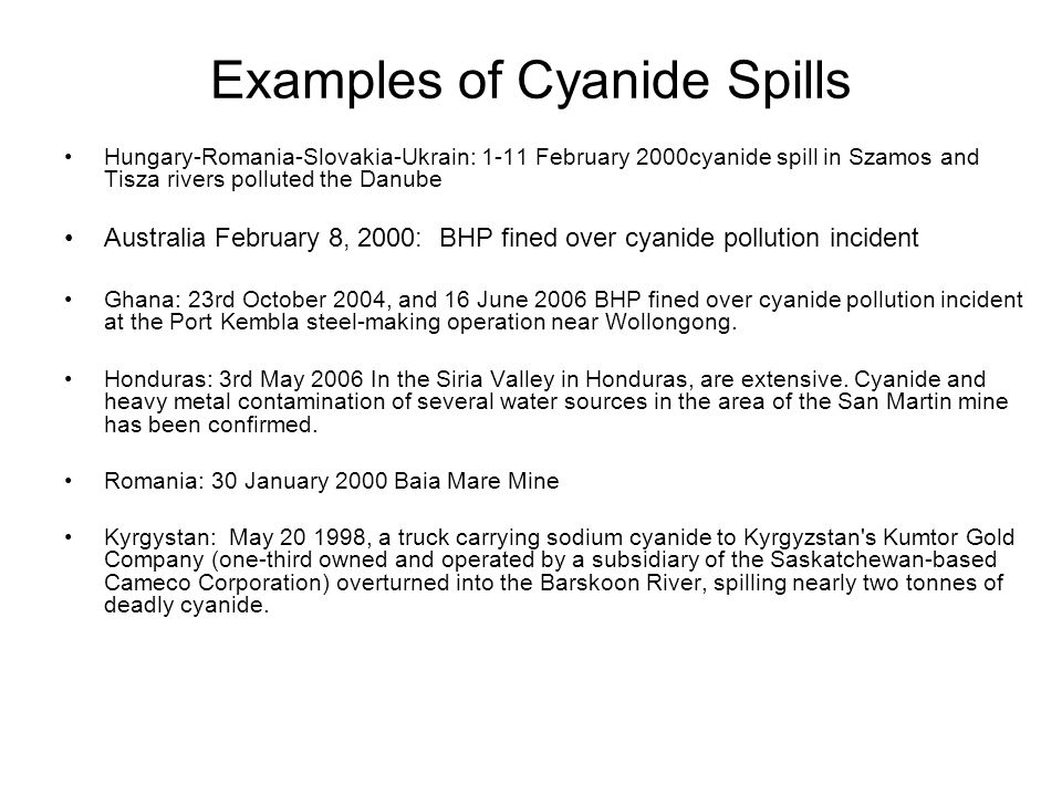 Examples of Cyanide Spills
