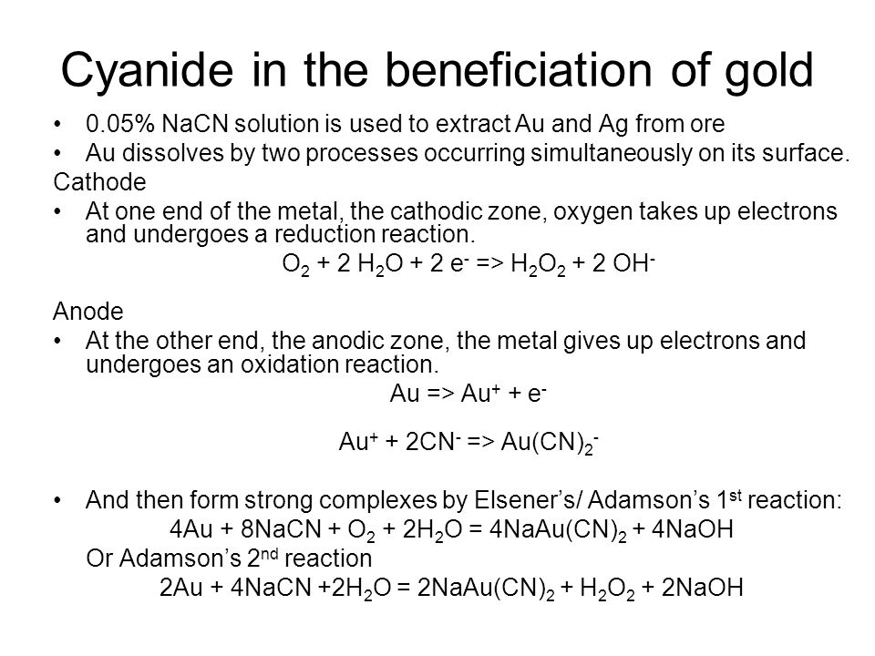 Cyanide in the beneficiation of gold