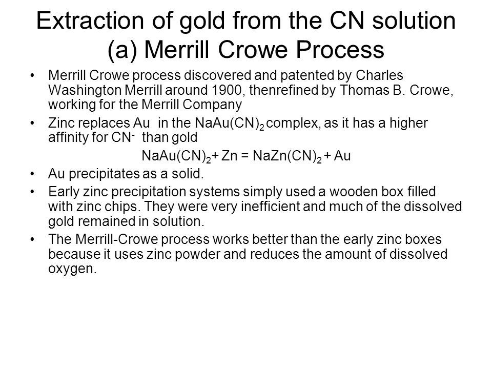 Extraction of gold from the CN solution (a) Merrill Crowe Process