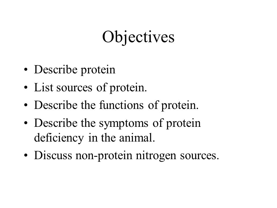 Objectives Describe protein List sources of protein.