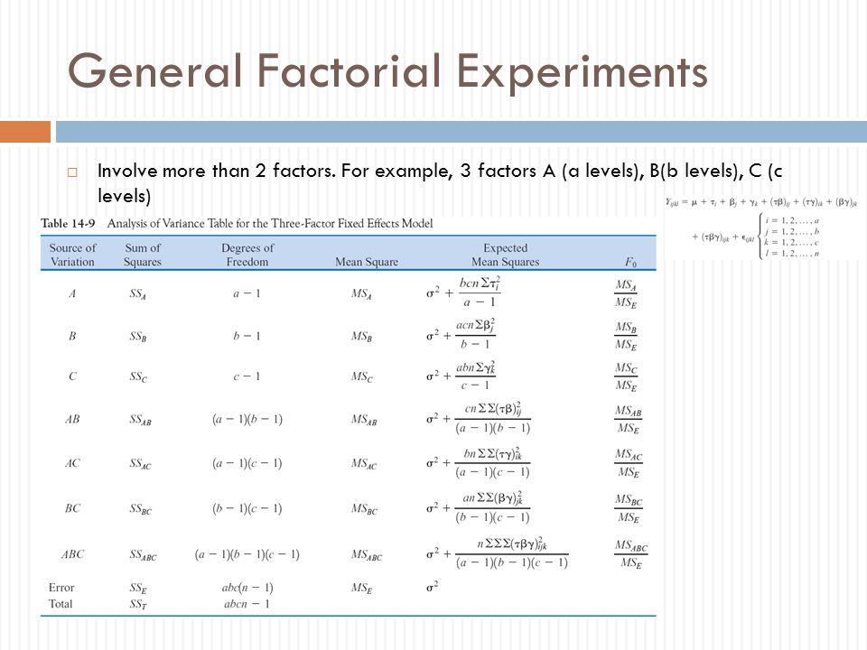 General Factorial Experiments
