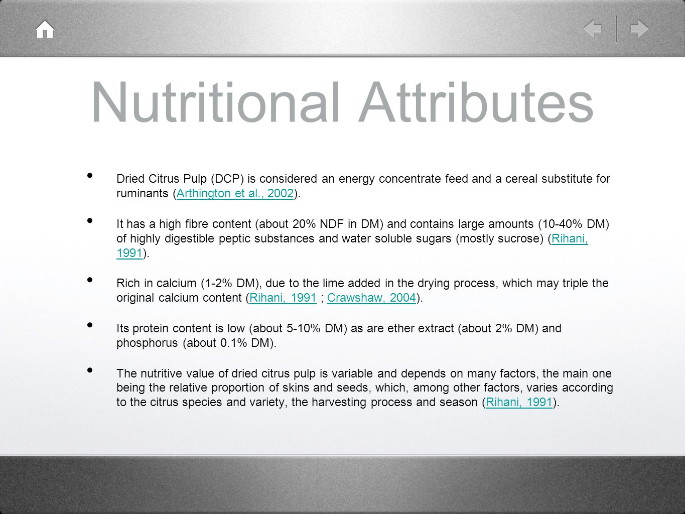 Nutritional Attributes