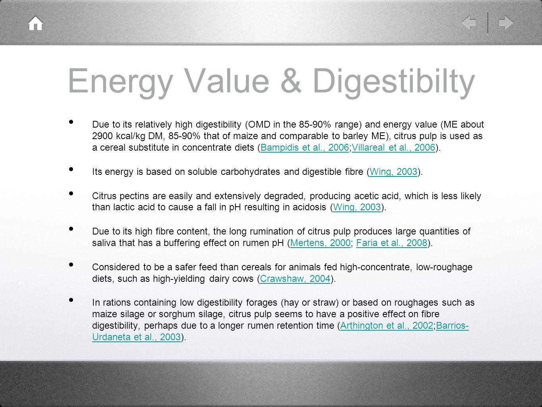 Energy Value & Digestibilty