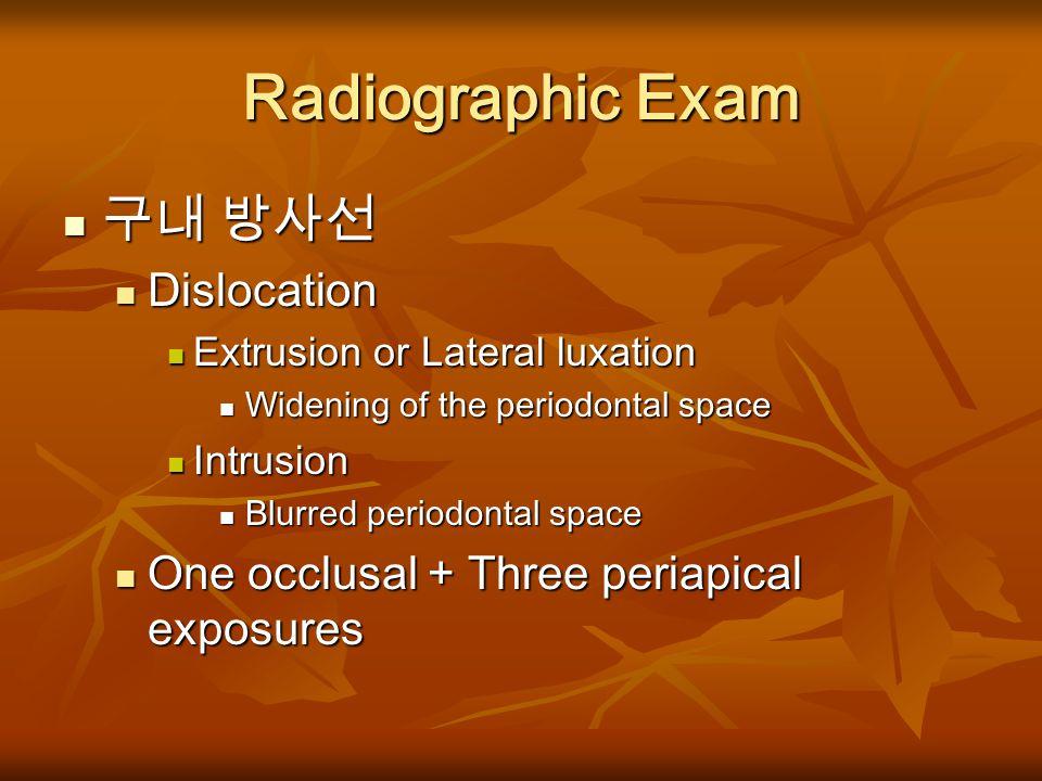 Radiographic Exam 구내 방사선 Dislocation