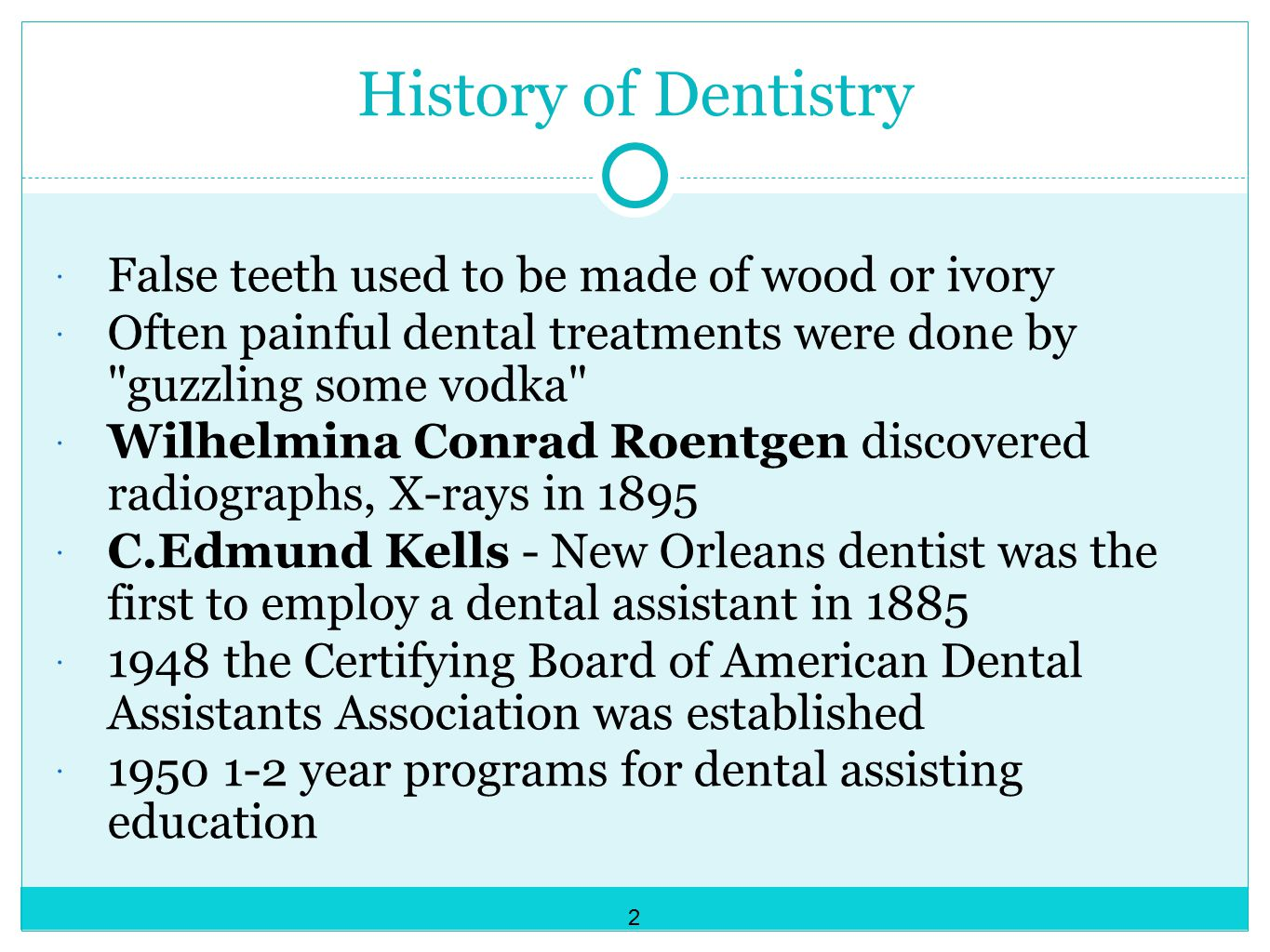 History of Dentistry False teeth used to be made of wood or ivory