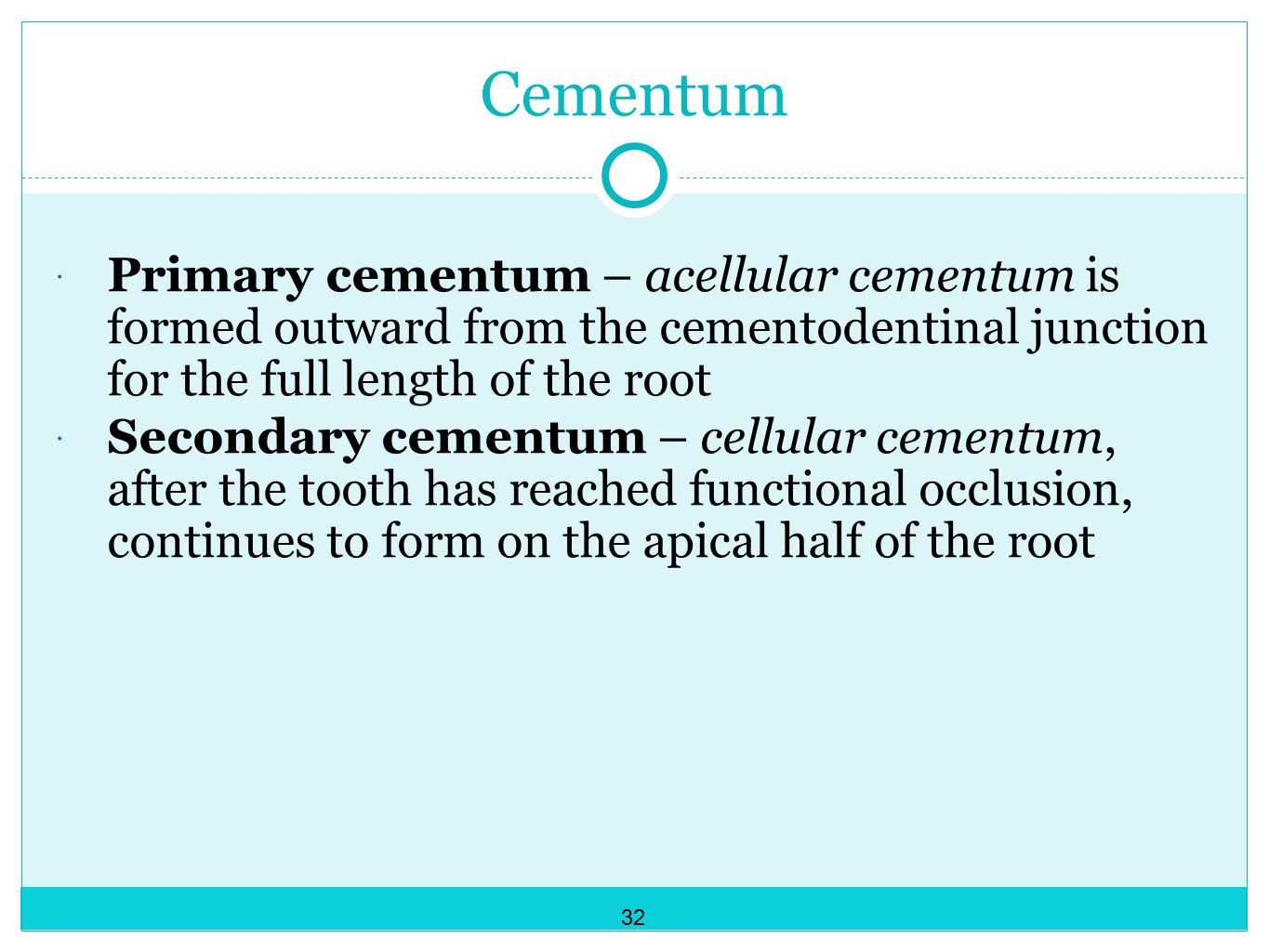Cementum Primary cementum – acellular cementum is formed outward from the cementodentinal junction for the full length of the root.