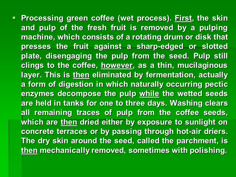 Processing green coffee (wet process)