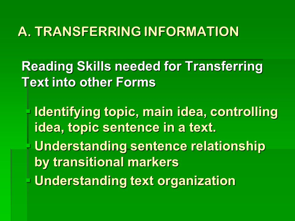 A. TRANSFERRING INFORMATION