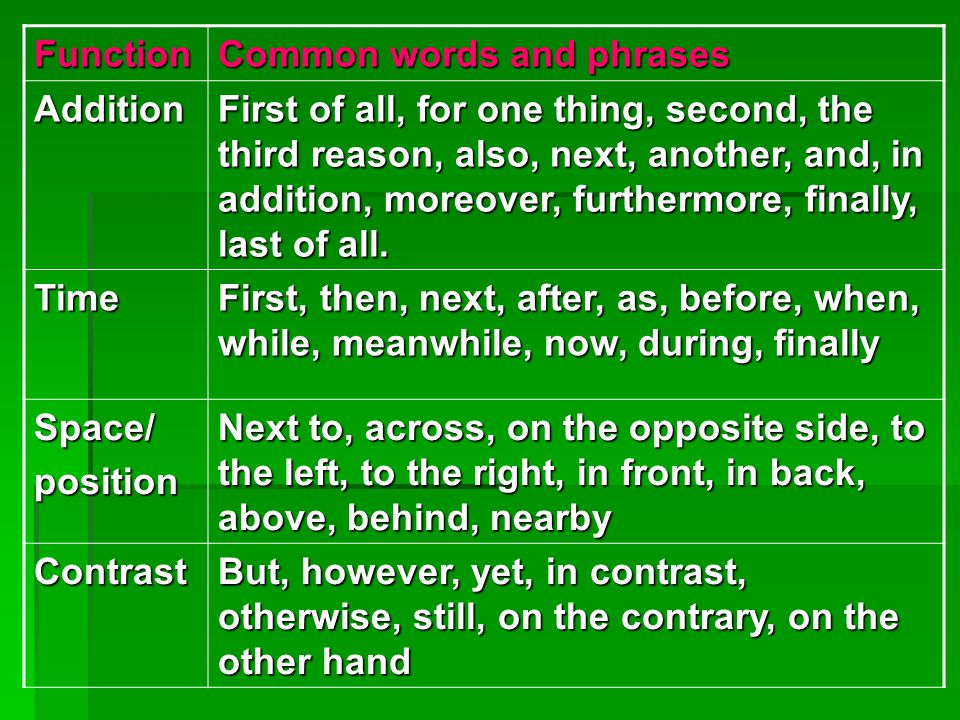 Function Common words and phrases. Addition.