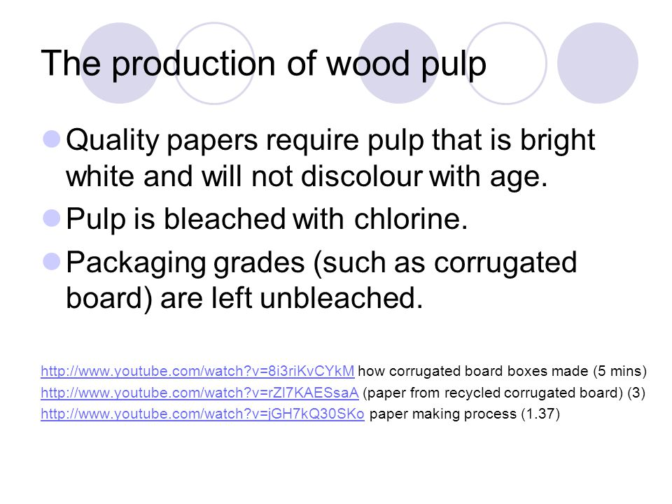 The production of wood pulp