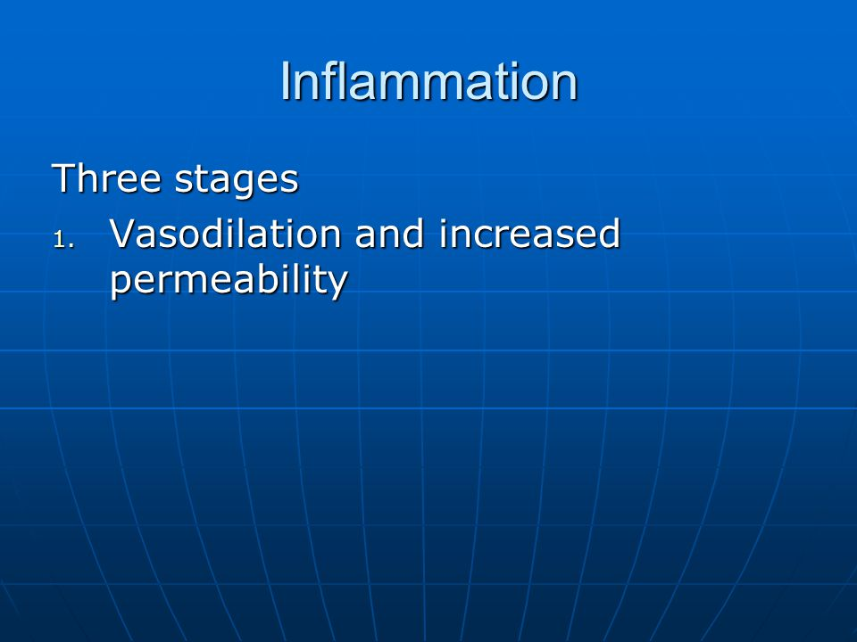 Inflammation Three stages Vasodilation and increased permeability