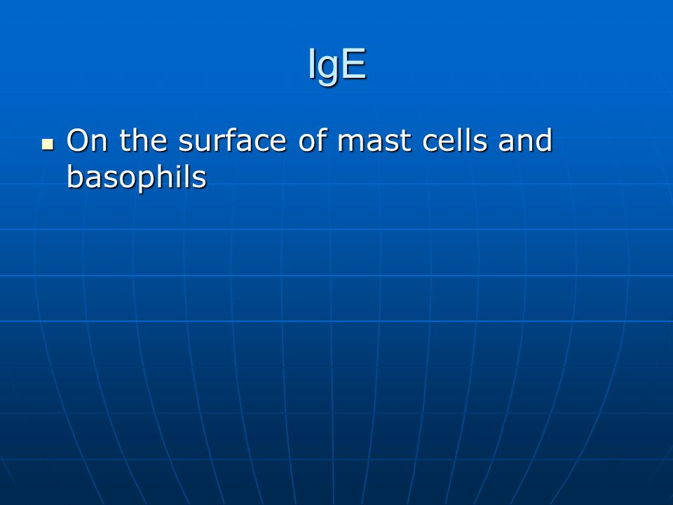 IgE On the surface of mast cells and basophils