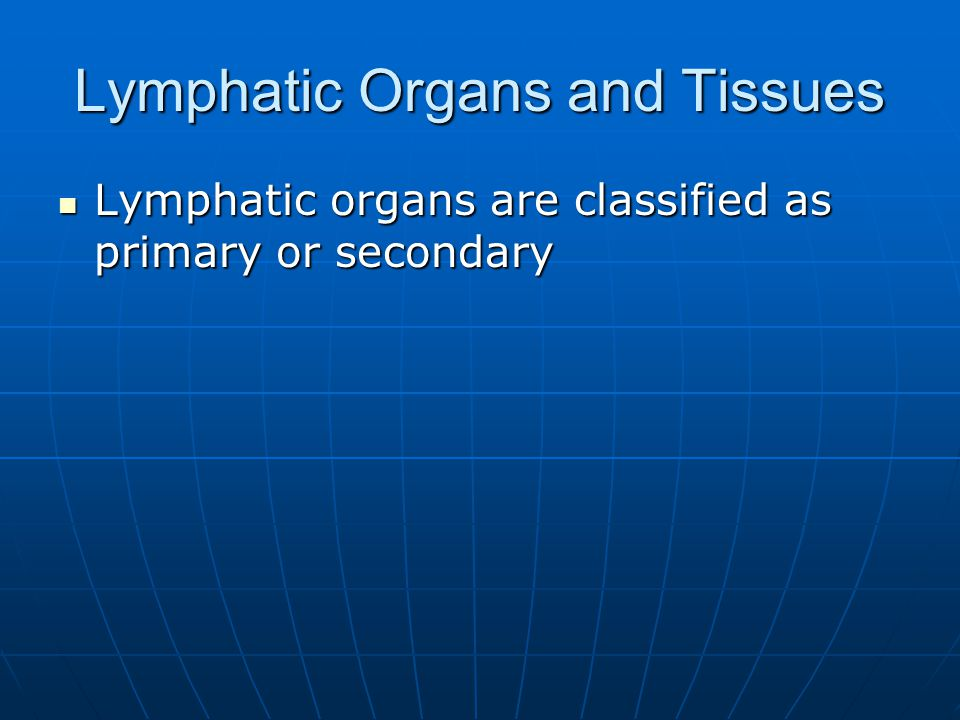 Lymphatic Organs and Tissues