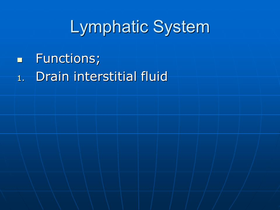 Lymphatic System Functions; Drain interstitial fluid