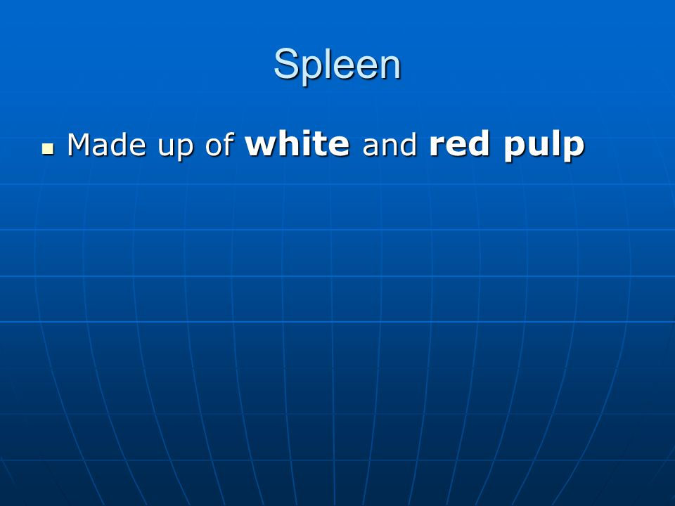 Spleen Made up of white and red pulp