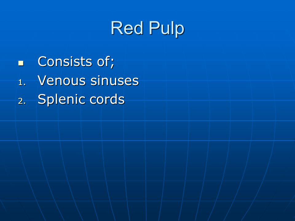 Red Pulp Consists of; Venous sinuses Splenic cords