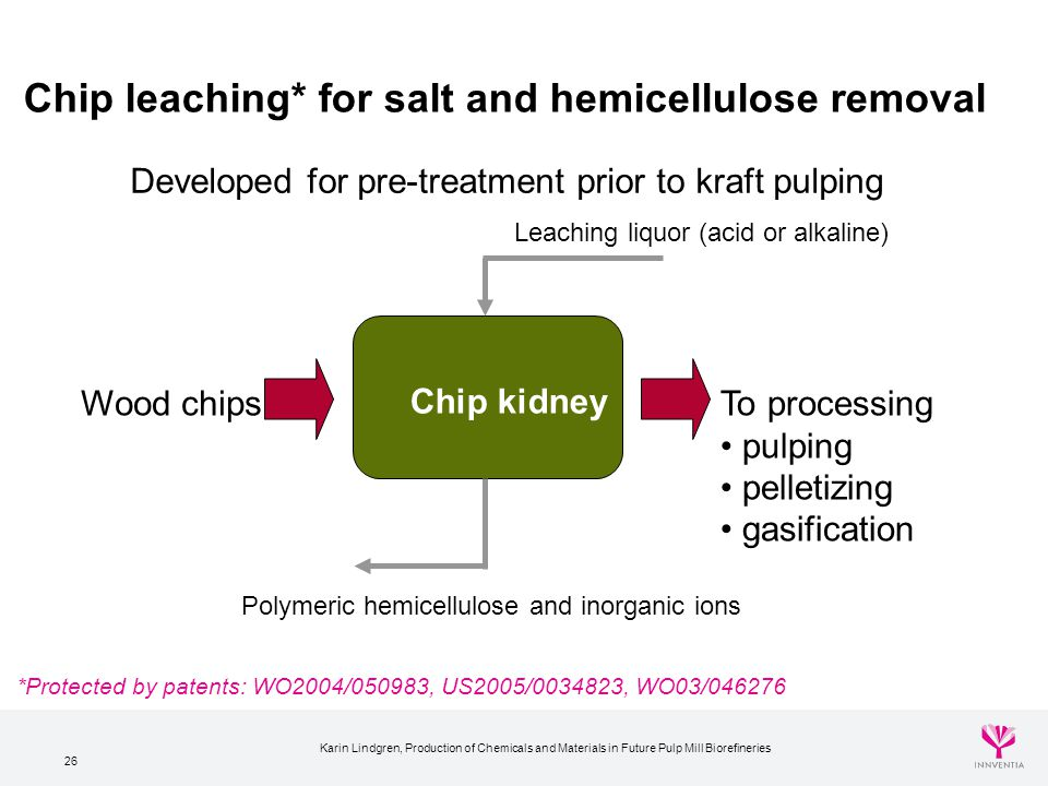 Chip leaching* for salt and hemicellulose removal