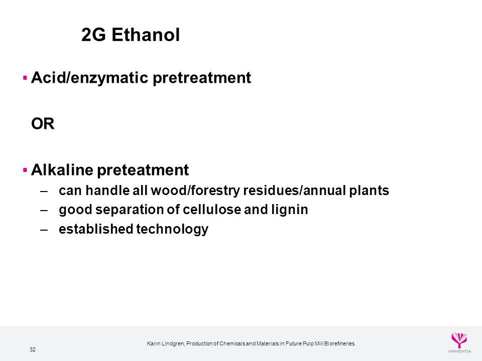 2G Ethanol Acid/enzymatic pretreatment OR Alkaline preteatment